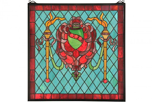 (Meyda Tiffany 36143 Victorian Shield/Twin Torch Window Panel, 20