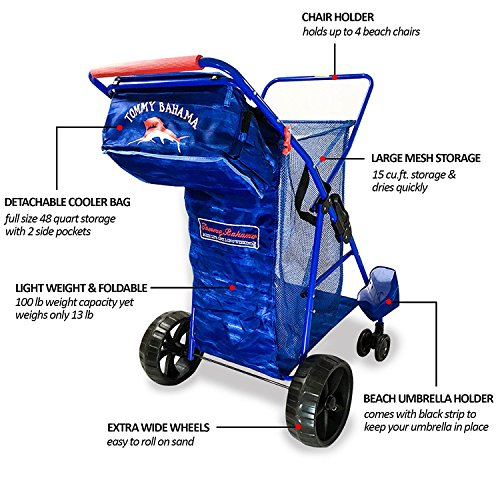 2018 Tommy Bahama Beach Cart Wide Sand Wagon Wheeler