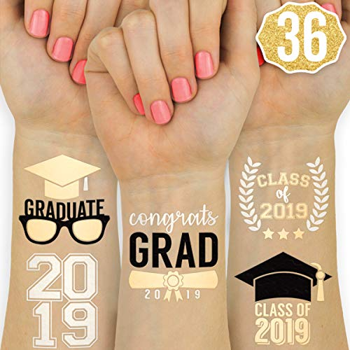 Graduation Party Supplies 2019 - Class of 2019 Metallic Tattoos - 36 Temporary - Congrats Grad | Grad Party Decorations, Graduation Cap Tassel Decor, Gold Silver and Black