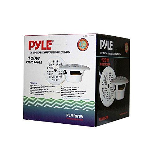 Pyle PLMR61W Dual 6.5'' Waterproof Marine Speakers, Full Range Stereo Sound, 120 Watt, White (Pair)