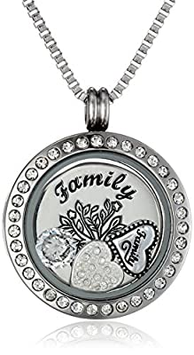"Charmed Lockets ""My Family My Love"" Pendant Necklace Charm Set, 24"""