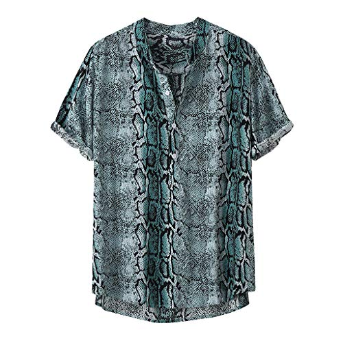 iLXHD Mens Button Down Shirt Summer Autumn Fashion Stand Collar Print Short Sleeve Shirt Top Green