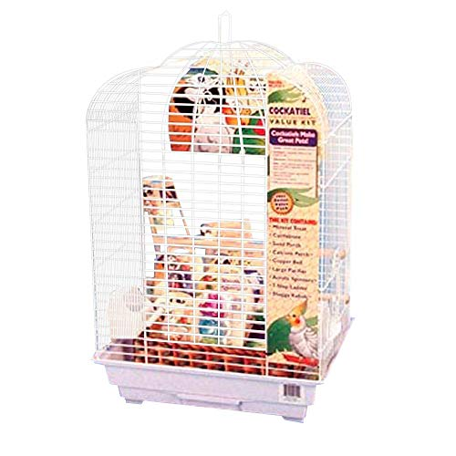 Penn-Plax Cockatiel Bird Cage Starter Kit, 27 Inch Cage Scallop Design with Toy, Cuttlebone, Treat, and Wood Perch…