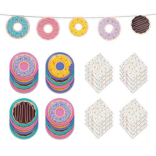 Donut Party Supplies - Donut Garland, Dessert Plates & Sprinkle Napkins For - Dessert Garland Plate