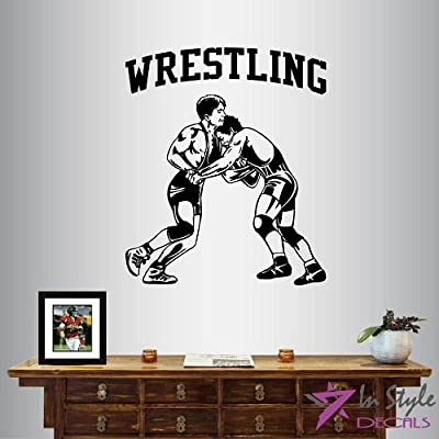 Wall Vinyl Decal Home Decor Art Sticker Silhouette Wrestling Match Wrestlers Sportsmen Sports Gym Home Fitness Room Removable Stylish Mural Unique Design For Any Room Creative Design Logo House
