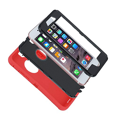 smartelf Case for iPhone 7 Plus/8 Plus Heavy Duty With Built-in Screen Protector Shockproof Dust Drop Proof Protective Cover Hard Shell for Apple iPhone 7+/8+ 5.5 inch-Red/Black