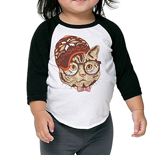Hipster Cat With Sweater Geometric Hat Kid's Sleeve Raglan Clothes Unisex 2 Toddler Design