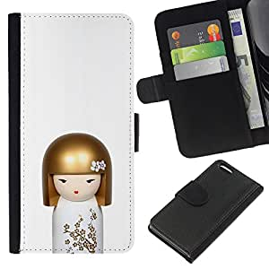For Apple Iphone 5C Case , Doll White Golden Hair Toy - la tarjeta de Crédito Slots PU Funda de cuero Monedero caso cubierta de piel