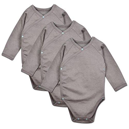 - DorDor and GorGor Baby Kimono Onesies, Organic Cotton ,Gray, 3PCS (6M)