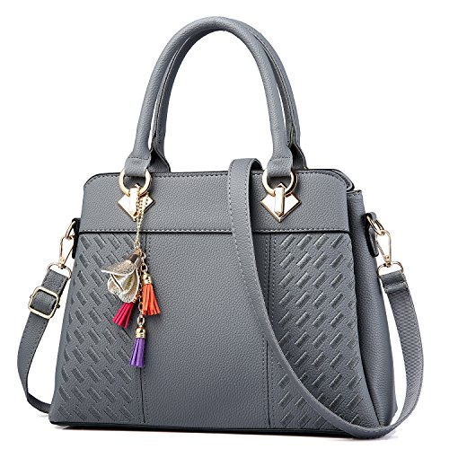 Capacity Bag - Womens Purses and Handbags Ladies Designer Satchel Tote Bag Shoulder Bags, Gray