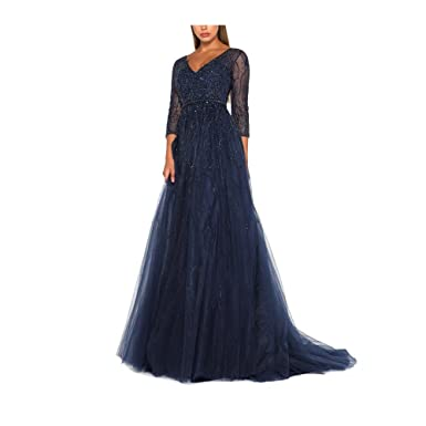 FIGHOUOR Sexy Navy Evening Gown Mermaid Prom Dresses Long Sleeve Party Dresses for Women