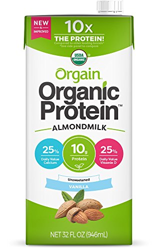Orgain Organic Plant Based Protein Almond Milk, Unsweetened Vanilla - Non Dairy, Lactose Free, Vegan, Plant Based, Gluten Free, Soy Free, No Sugar Added, Kosher, Non-GMO, 32 Ounce (Pack of ()