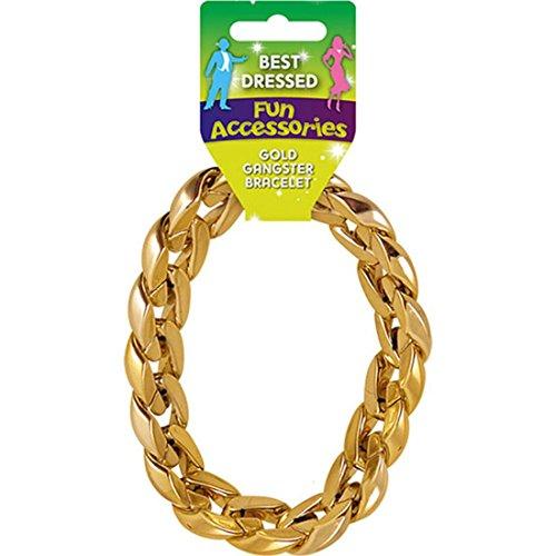 Best Dressed Men's Chunky Gangster Pimp Bracelet Fancy Dress Jewelery Medium Gold -