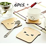 FASHION ALICE Cute Wood Dog Coasters Toast Bread Cup Mat,Set of 6 (drink Coasters for wine, beer, hot and cold drinks), including Key Ring Bottle Opener