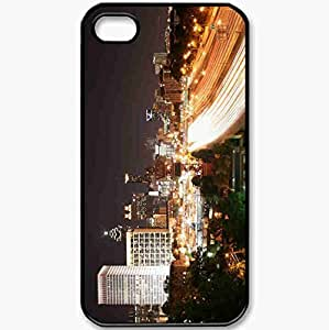 Protective Case Back Cover For iPhone 4 4S Case Night Road Building Lights Black
