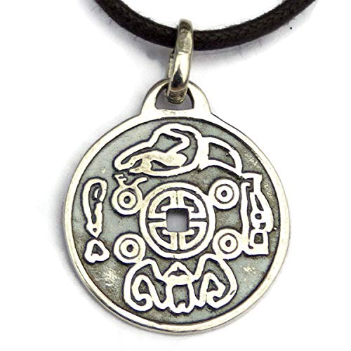Lucky Coin Buddhist Money Solid Sterling Silver 925 Ancient Chinese Necklace for Men Women Evil Eye Good Luck Pendant Charm Feng Shui Amulet Talisman Perfect Gift Idea Handmade Jewelry