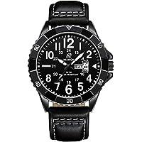 [Patrocinado] Nedifon - Reloj de pulsera para hombre, esfera negra, reloj de pulsera para hombre, correa de piel, reloj de negocios para hombre con fecha, reloj de cuarzo informal, relojes de negocios