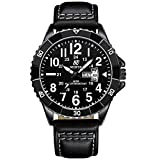 Nedifon Mens Watches,Men's Watch Black Dial Wrist Watches,Mens Leather Watch Black Simple Men Business Watch with Date,Waterproof Quartz Casual Watch,Business Watches