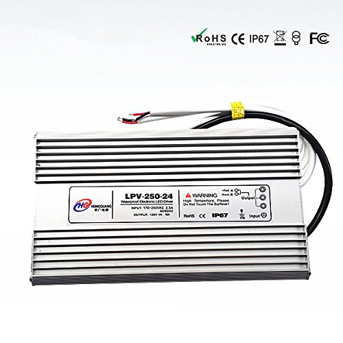 250W 24v Waterproof outdoor Power Supply power adapter Transformer IP67 for LED light Warranty 3 year,