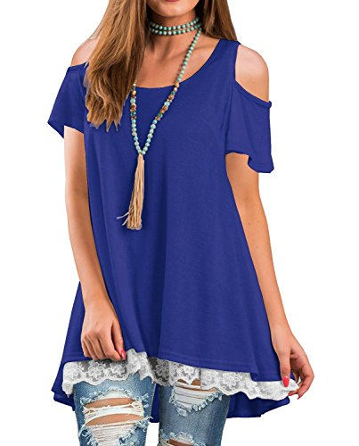 TDTE Womens Cold Shoulder Tops Short Sleeve Lace A-Line Tunic T-Shirt Blouse,10 Royal Blue,X-Large (Lace Long Tunic)