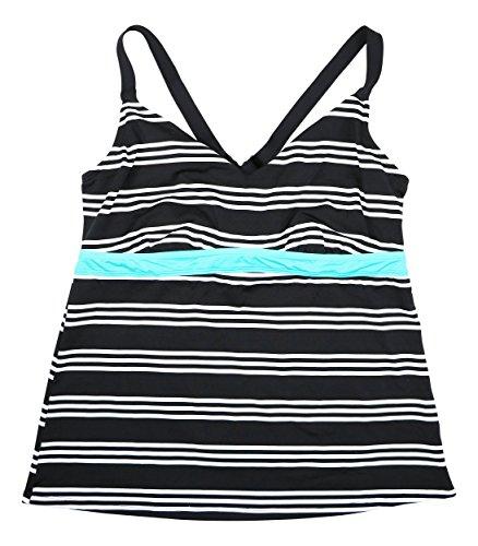 Bra Sized Tankini - JAG Women's Striped Underwire Bra Sized Tankini Top (Black, 32D/DD)