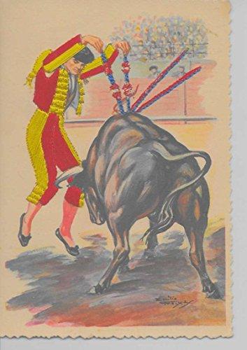 - Portugal bullfight matador bull attached silk artist signed antique pc Z31019
