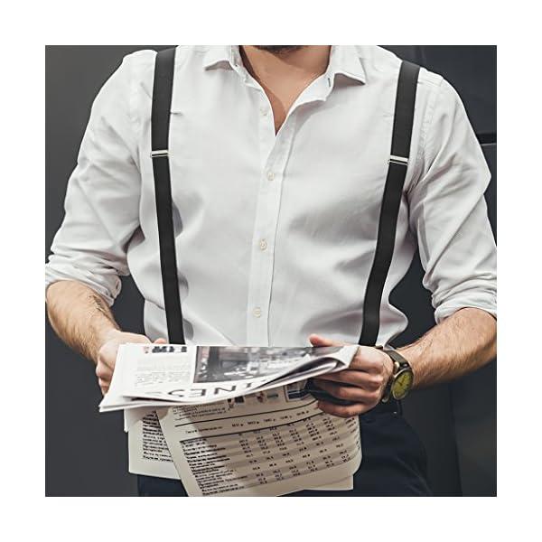 Leather Tuxedo Suspenders for Men Y Back Design Fashion Accessories : Button Pant Braces Clothes Accessory with Elastic, Fashion Accessories - (Multiple Colors)