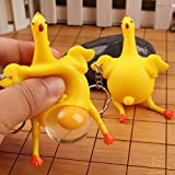 Squeeze Chicken Ornaments,Hemlock Funny Chicken Eggs Toys Key Chains Ornaments Stress Relieve Squeeze Toys (9x6cm, Yellow)