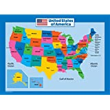 USA Map for Kids - Laminated - United States Wall Chart Map (18 x 24)