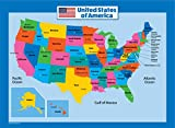 United State Map for Kids – Laminated – Image of United States Map (18 x 24)