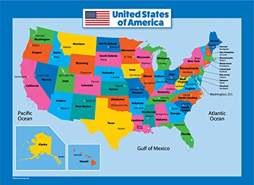 - USA Map for Kids - Laminated - United States Wall Chart Map (18 x 24)