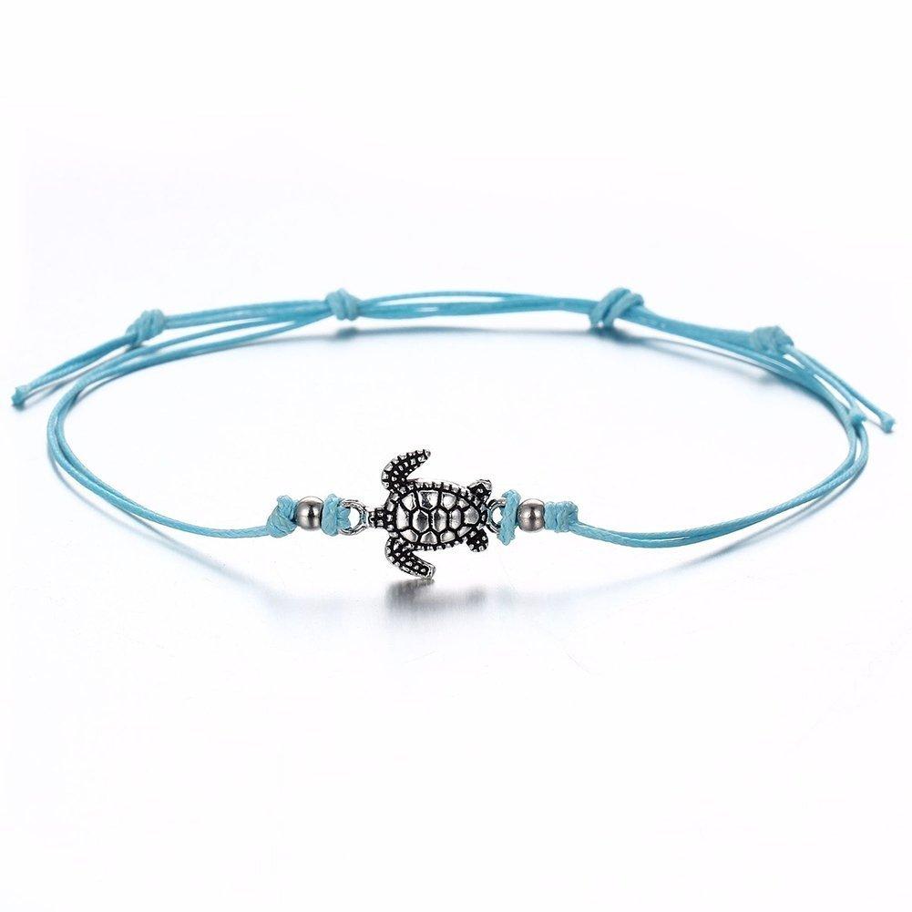 WUSUANED Vintage Wax Rope Turtle Anklet Bracelet Summer Beach Foot Jewelry (turtle anklet)
