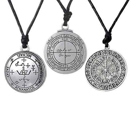 3 Pieces Round Pendant Amulet Necklace Mysterious Vintage Talisman Jewelry Necklace Jewelry Crafting Key Chain Bracelet Pendants Accessories Best ()