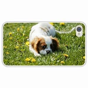 iPhone 4 4S Black Hardshell Case dog grass White Desin Images Protector Back Cover