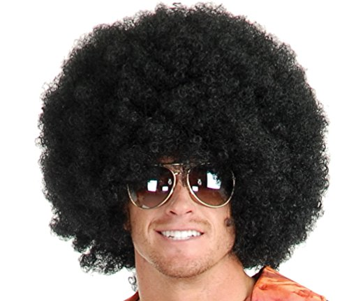 Afro Wig - #1 Short Fluffy Afro Wigs Heat Resistant Synthetic Unisex Men Women Cosplay Anime Fancy Funny Wigs for Party - Black]()