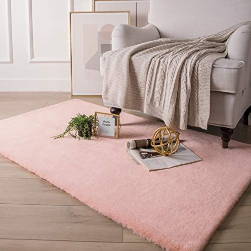 Ashler Soft Faux Rabbit Fur Chair Couch Cover Area Rug for Bedroom Floor Sofa Living Room Pink Rectangle 3 x 5 Feet