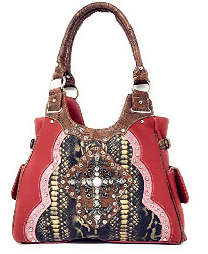 Red Flower Pink and Red Leather Purse Cross Handbag A25 Black 5253 in Shoulder Set Rhinestone Brown zq1a5