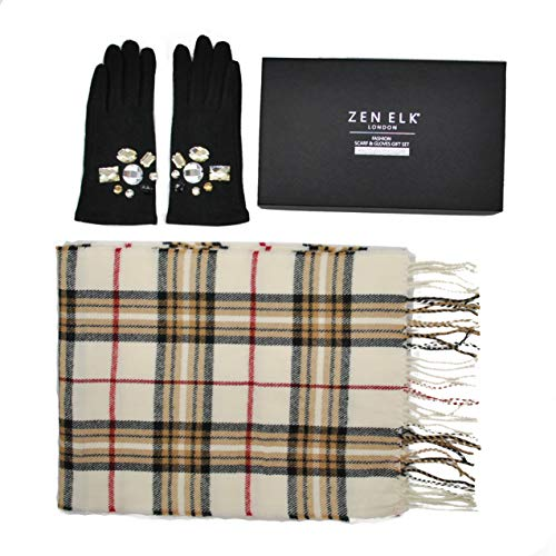 Women's Wool Gloves & Check Scarf Box Set #35 (Black/Cream)