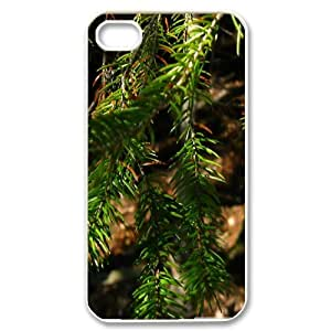 Evekiss Branch IPhone 4/4s Cases Fir Tree Branches Unique for Guys, Iphone 4 Case, [White]