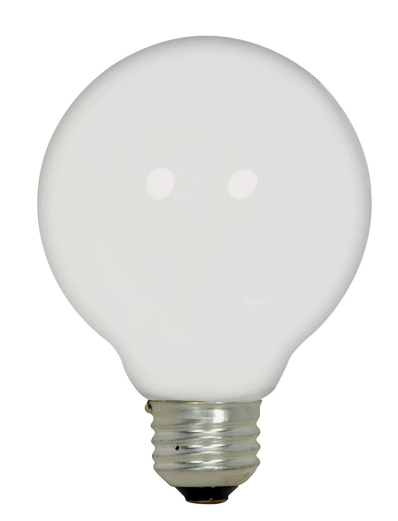 Satco 43G25/WH/120V Halogen Decorative, 43W E26 G25, White Bulb [Pack of 12]