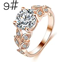 Malloom Flower Crystal Rose Gold Silver Engagement Wedding Ring Women Jewelry Accessories (9, Rose Gold)