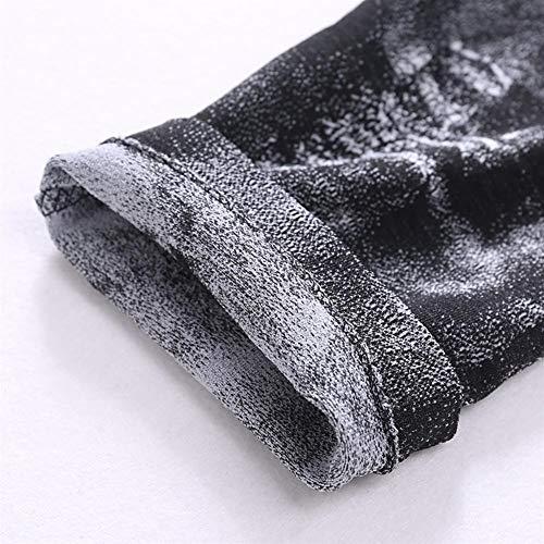 ZZYUBB Yogabyxor kvinnor imitation slitna jeans leggings casual hög midja smala elastiska pennbyxor (färg: Mörkgrå, storlek: Stor)
