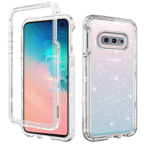 DUEDUE S10e Case Clear,Galaxy S10e Case, 3 in 1 Glitter Shockproof Drop Protection Heavy Duty Hybrid Hard PC Transparent TPU Bumper Full Body Protective Case for Samsung Galaxy S10e 5.8'' 2019,Clear