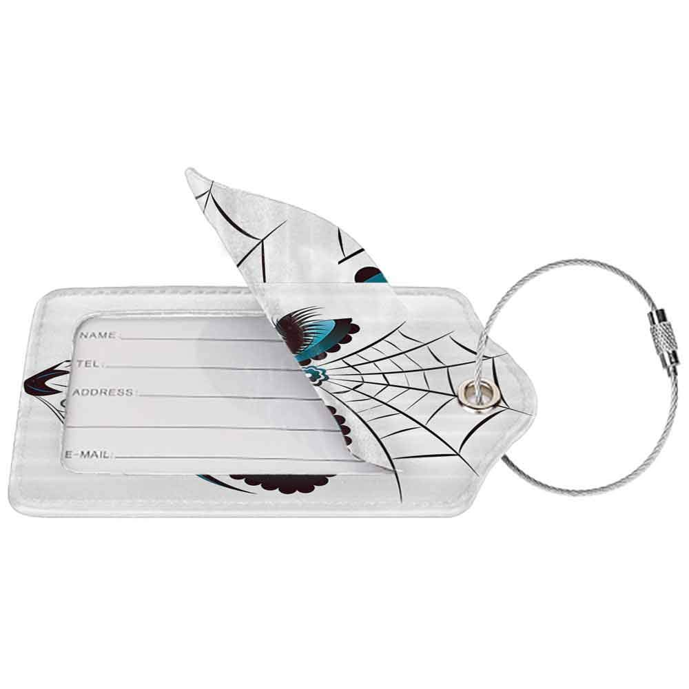 Waterproof luggage tag Skulls Decorations Collection Graphic of Cute Dead Skull Teen Girl Face with Make Up and Ornate Design Print Soft to the touch Peacock White W2.7 x L4.6