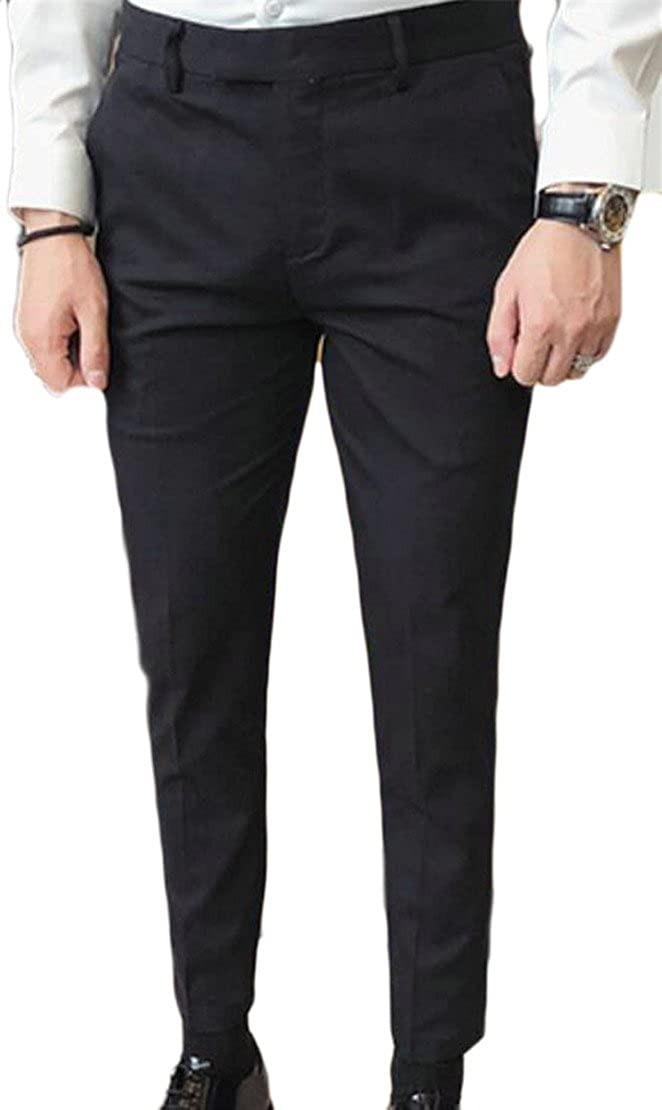 WSPLYSPJY Mens Black-Solid Formal Suit Separate Pants