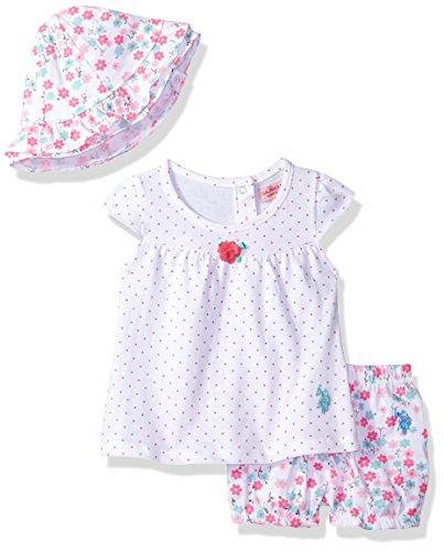 U.S. Polo Assn. - Juego de accesorios y playera para bebé, diseño de niña, Babydoll Knit Matching Cap Multi, 3-6 Meses