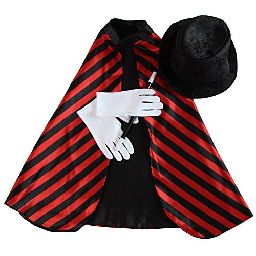 Kids Unisex Magician Set (Red/Black Reversible Cape, Black Hat, Gloves and Wand)