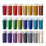 Original Stationery Arts and Crafts Glitter Shake Jars, Extra Fine Powder, 24 Multi Color Assorted Set. Works for Slime, School and Children's Projects