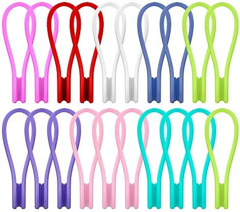 Joseche Silicone Twist Ties Strong Magnetic Cable Clips - Multi Color Cord Winders 20 Pack Unique Gadgets for Cable Management and OrganizationHanging & Holding StuffFidgetingor Just for Fun