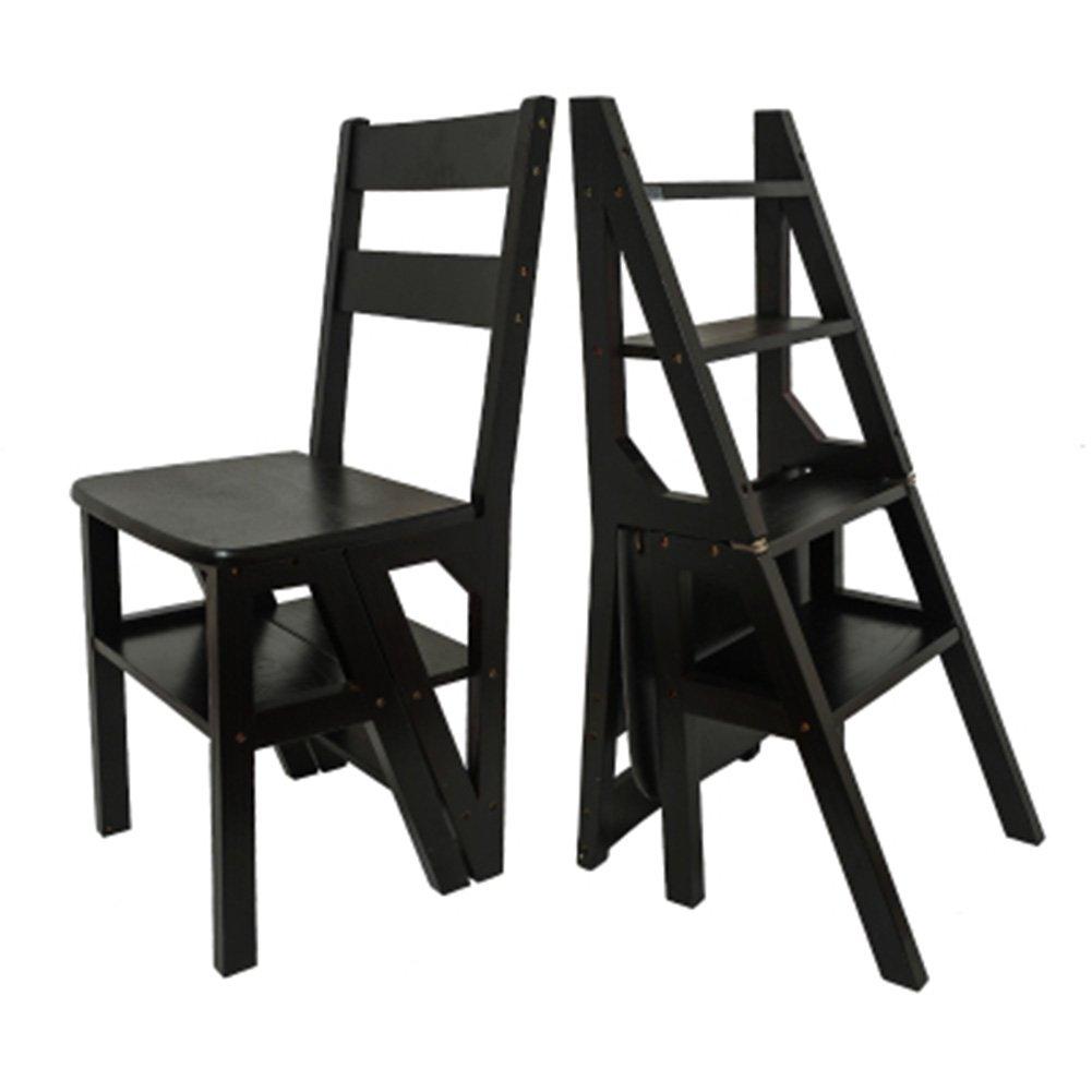 PENGFEI 折りたたみステップ 背もたれの椅子 多機能 二重使用 リビングルーム フラワースタンド 本棚 昇順 4ステップ 4色、 高さ90cm 脚立 踏み台ステップ チェア (色 : Black walnut) B07D8XJ7L9 Black walnut